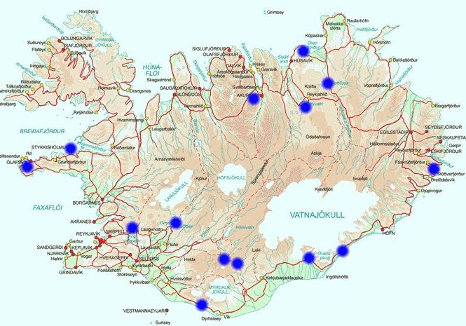 Attractions Iceland Map – Tourist Map Iceland